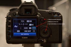 Canon 5D Mark II Spot Metering Steps