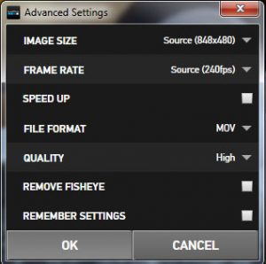 Use this dialog to select your image size, frame rate, file format and quality.