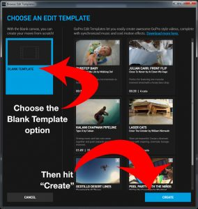 "Choose the ""Blank Template"" option, then hit ""Create"""