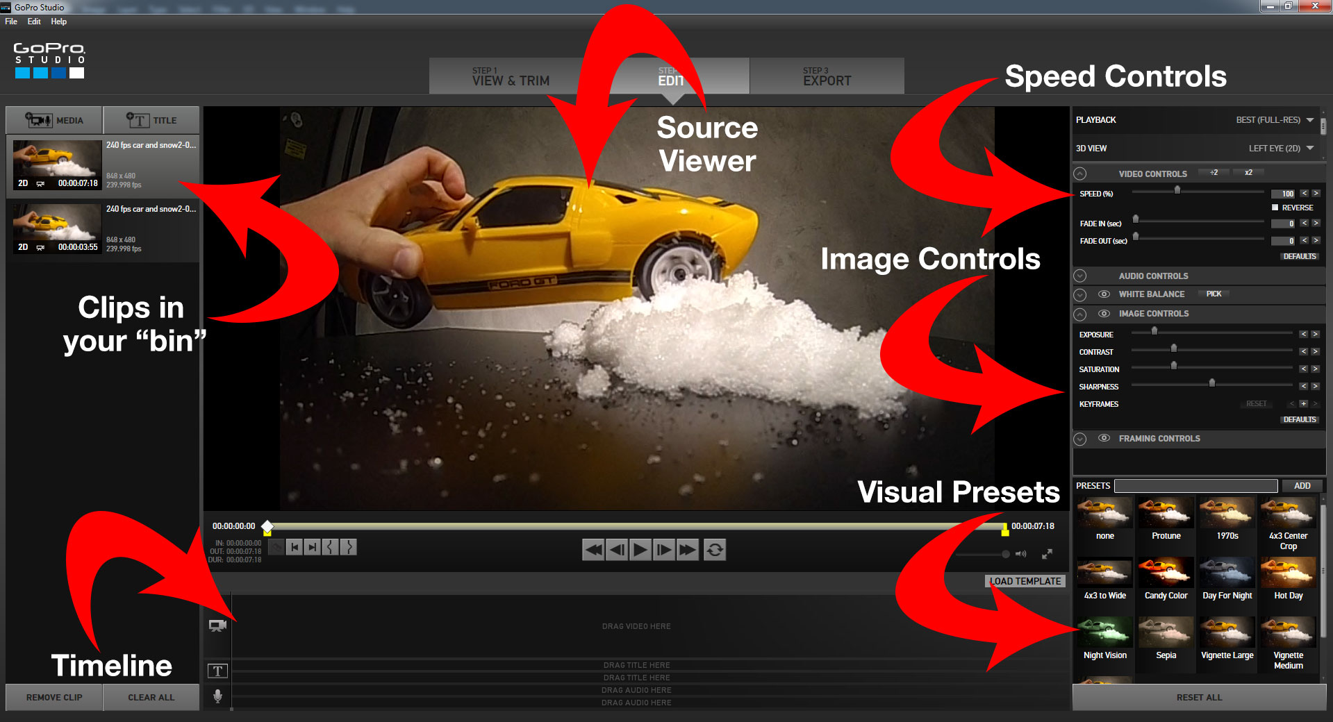 how to cut photo from video go pro studio