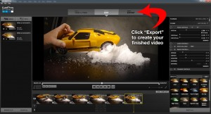 "Click ""Export"" to create your finished video"
