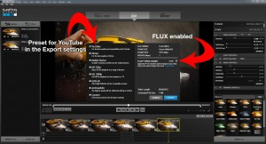 Export settings with the YouTube preset selected and FLUX enabled.