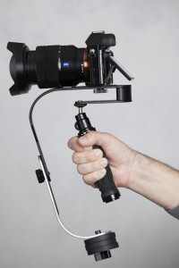 Roxant Steadycam with handle locked in position.