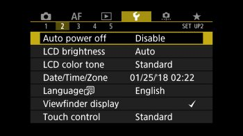 Auto Power Off settings
