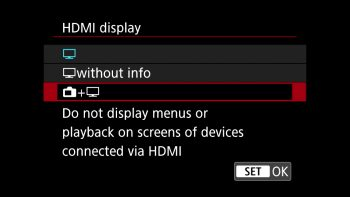 setting telling the camera to not display menus over HDMI