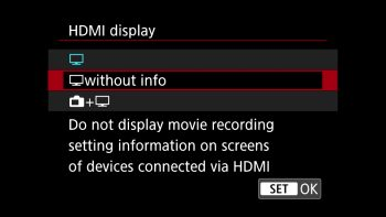 Output the HDMI signal without any info screens showing