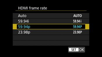Canon 5D Mark IV with 59.94 FPS selected